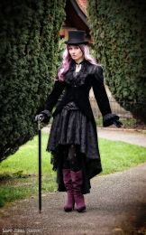 Vampiria ladies tail jacket in black velvet flock and black lace details