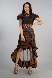 Ines steampunk bolero shrug in brown brocade and coffee matte vinyl. Gorgeous brown lace puffed short sleeves, coffee matt buckles and brass studs details will give you an amazing look.