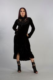 Ines vintage maxi dress in high quality black stretch velvet with long bell sleeves. Black velvet frill, lace neckline and high collar. Elegant party and warm daytime dress.