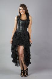 Isabella high low corset dress in black king brocade