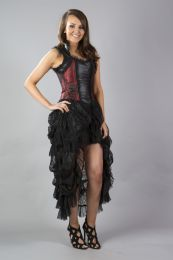 Isabella high low corset dress in red king brocade