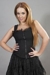 Janet victorian corset top black lycra and black lace overlay