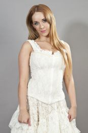 Janet victorian corset top cream lycra and cream lace overlay