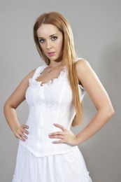 Janet vintage corset top white lycra and white lace overlay