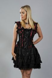 Jasmin burlesque corset dress in red king brocade