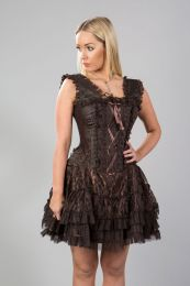 Jasmin burlesque mini corset dress in brown king brocade