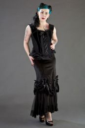 Jasmin overbust closed front corset in black velvet