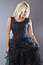 Jasmin overbust corset with straps in black taffeta with motif