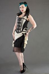 Jasmin overbust corset with straps in cream taffeta and black motif