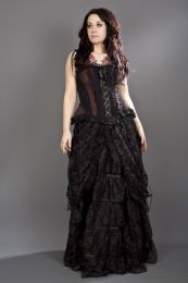 Jasmin overbust corset with straps in red scroll brocade