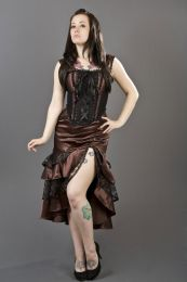 Jasmin overbust gothic corset in brown satin