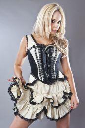Jasmin overbust gothic corset in cream taffeta