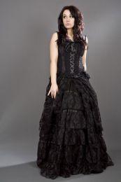 Jasmin overbust gothic corset in purple scroll brocade