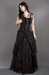 Jasmin overbust corset with straps in black scroll brocade