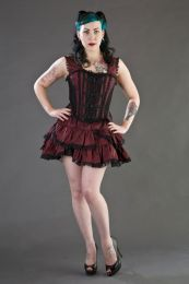 Jasmin overbust gothic corset in burgundy taffeta with black motif