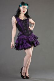 Jasmin overbust gothic corset in purple taffeta with black motif