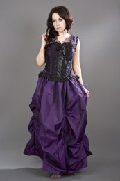 Jasmin overbust lace up corset in purple taffeta