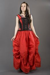 Jasmin overbust lace up corset in red taffeta