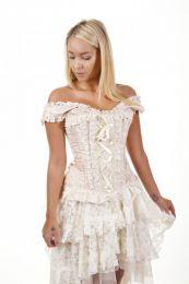 Jasmin overbust vintage corset in baby pink king brocade