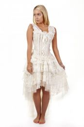 Jasmin overbust vintage corset in cream king brocade