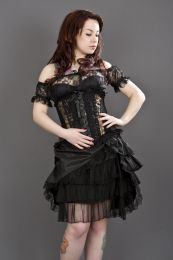 Jasmin underbust burlesque corset in gold king brocade