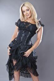 Jasmin underbust gothic corset in silver scroll brocade