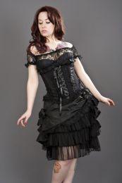 Jasmin underbust gothic corset in black taffeta