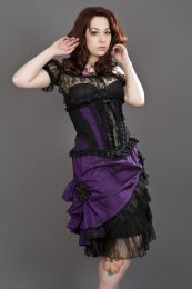 Jasmin underbust gothic corset in purple taffeta