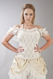 Jessie victorian vintage top in cream lycra and cream lace overlay