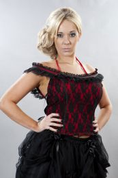 Jessie gothic top in red lycra and black lace overlay