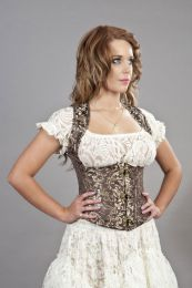 Juliette c-lock underbust corset with straps in brown & gold scroll brocade