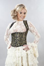 Juliette underbust corset with straps in gold scroll brocade