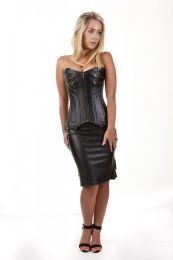 Kaiten overbust faux leather corset in matte black