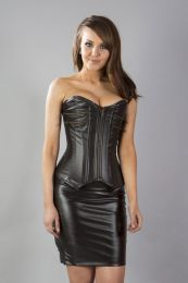 Kaiten overbust faux leather corset in matte brown