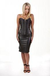 Kaizen overbust faux leather corset in black matte vinyl