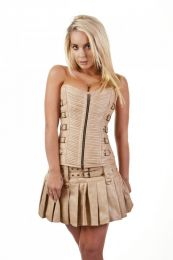 Kaizen overbust faux leather corset in camel matte vinyl