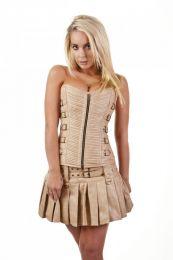 Kaizen overbust faux leather corset in camel matte vinyl