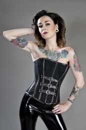 Kali overbust steampunk corset in black twill and brown matte