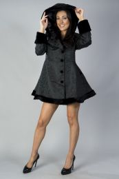 Karen ladies coat with hood in black scroll brocade and black fur