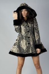 Karen ladies coat with hood in gold king brocade and black fur