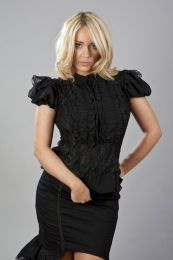 Katie victorian shirt with frills in black chiffon and black lace