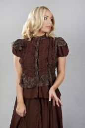 Katie victorian shirt with frills in brown chiffon and brown lace