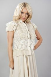 Katie victorian shirt with frills in cream chiffon and cream lace