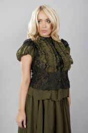 Katie victorian frilled shirt in olive green chiffon and black lace