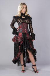 Kazumi underbust corset in red king brocade