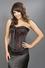 Lily hook and eye overbust burlesque corset in black satin and red petals