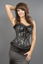 Lily hook and eye overbust burlesque corset in black satin and silver petals