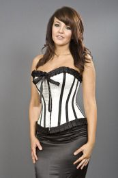Lily hook and eye overbust burlesque corset in white satin and white dragon