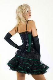 Lily mini petticoat in black and green trim