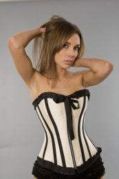 Lily overbust burlesque corset with zipper in cream taffeta